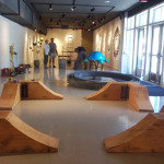 Setting up wooden bases in the gallery, Sacred Space installation, Dougherty Arts Center