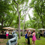 Guests and sculpture of reclining, nude female, Umlauf Garden Party Event