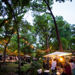 Guests, early evening in the garden, Umlauf Garden Party Event