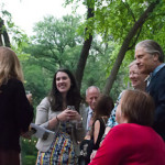 Jennifer talking to guests, Umlauf Garden Party Event