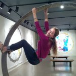 Liana playing on Gate of Beauty sculpture, Sacred Space Art Party