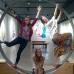 Liana Putrino, Megan McIlwain and Katy Hirschfield in the gate of beauty sculpture, Sacred Space Art Party