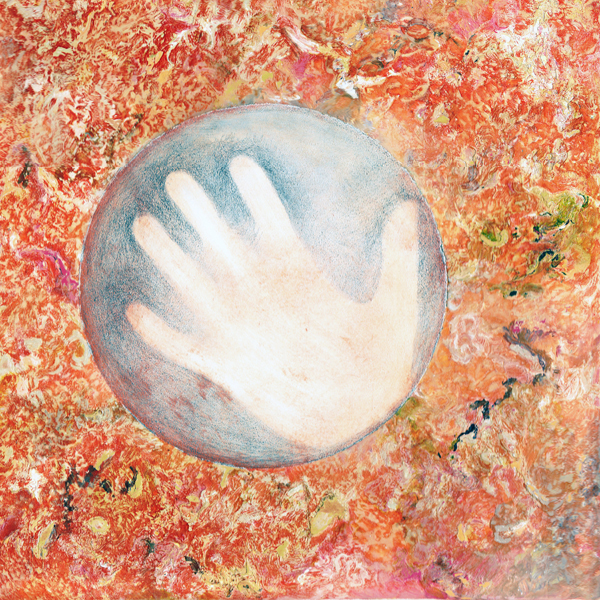 White silhouette of hand in a sphere, on a painted orange background, entitled Orange Hand