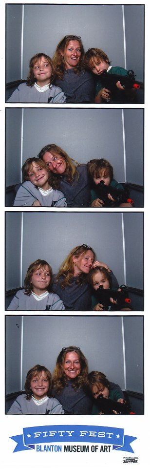 Photo booth images of Jennifer Chenoweth and her kids at Fifty Fest, Blanton Museum of Art, Austin