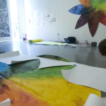 Installation, Laying out the big flower in gallery at CoLab