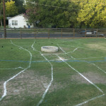 The map of Austin chalked on the field