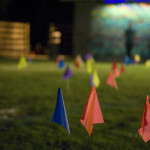 Survey flags on the field