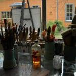 View out studio window with paint brushes, EAST 2011 at Fisterra Studio by Judith Simonds