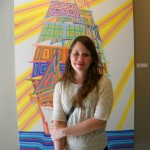 Annie Simpson in front of her painting at Fisterra Studio, EAST 2011, by Judith Simonds