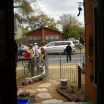 Bike visitors at Fisterra Studio, EAST 2011, by Judith Simonds