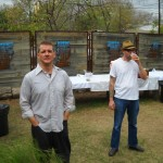 Richard Mansfield and Erik Tragus in backyard at Fisterra Studio, EAST 2011, by Judith Simonds