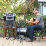 Johann Wagner playing on the back porch at Fisterra Studio, EAST 2011, by Judith Simonds
