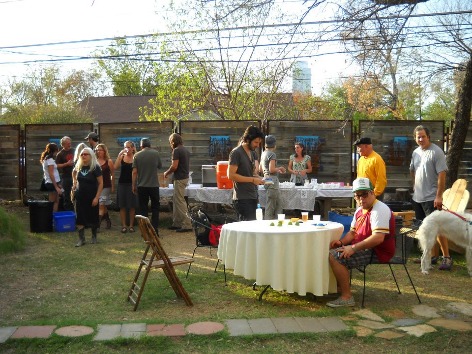 Back yard party at Fisterra Studio, EAST 2011, by Judith Simonds