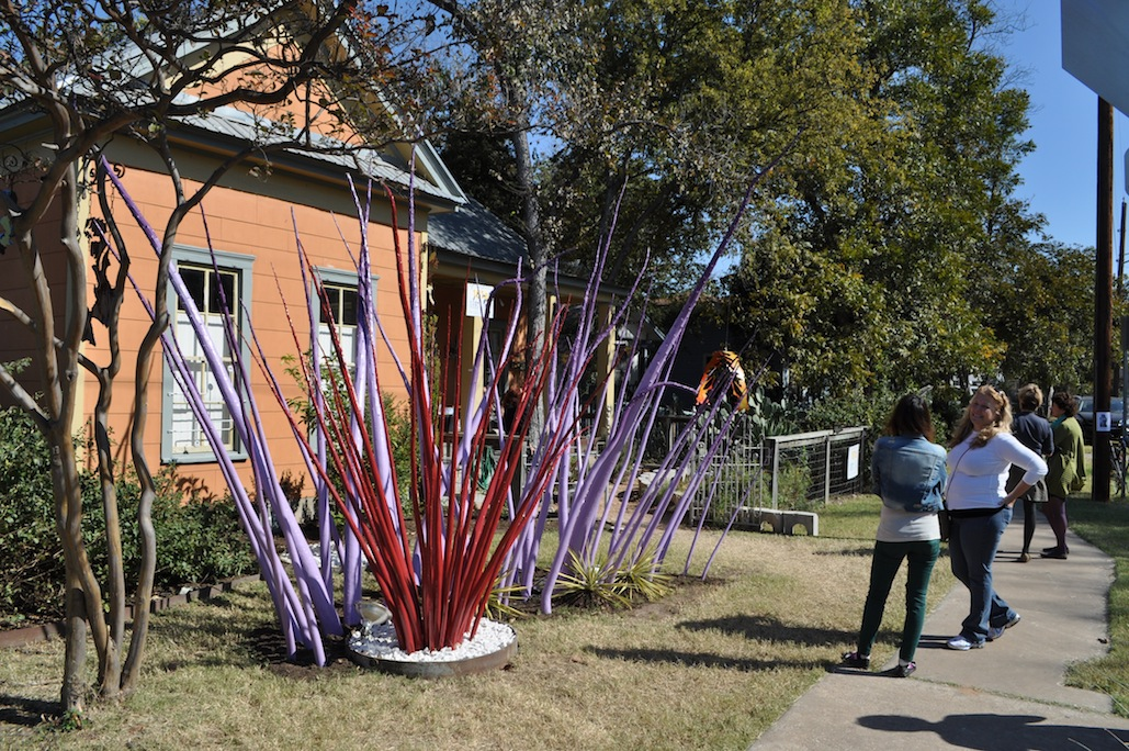Monique's red and purple spike installation, EAST 2012 at Fisterra Studio by Philip Rogers