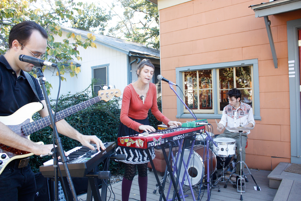 The band, Holiday Mountain, playing on the back porch, EAST 2012 at Fisterra Studio by Dante