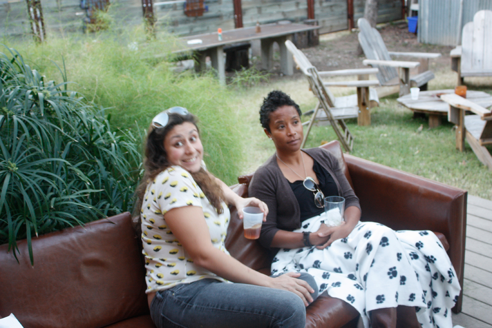 Eunice and Elaine sitting on a couch outside, EAST 2012 at Fisterra Studio by Dante Dominick