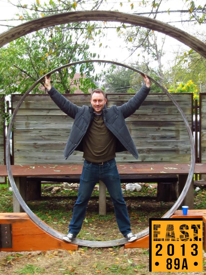 Man Standing In Circular Sculpture, EAST 2013 at Fisterra Studio by Leslie Vela