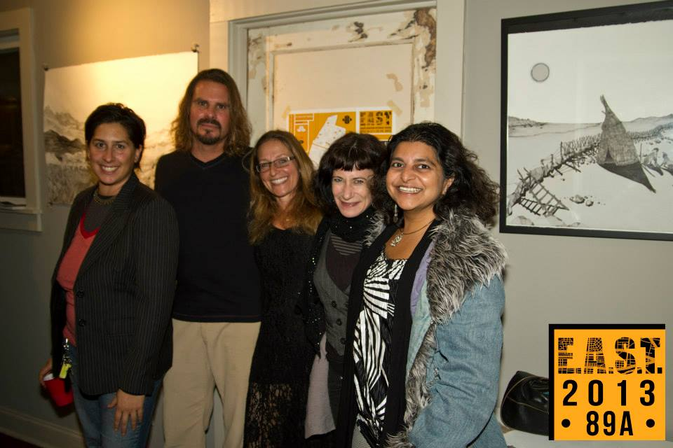 Jennifer and friends smiling for the camera, EAST 2013 at Fisterra Studio by Leslie Vela
