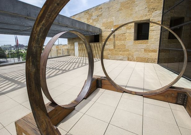 Large Metal Circular Sculptures Installed