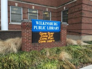 Marquee at Wilkinsburg Public Library for Artist's Talks about project for community feedback, January 2017