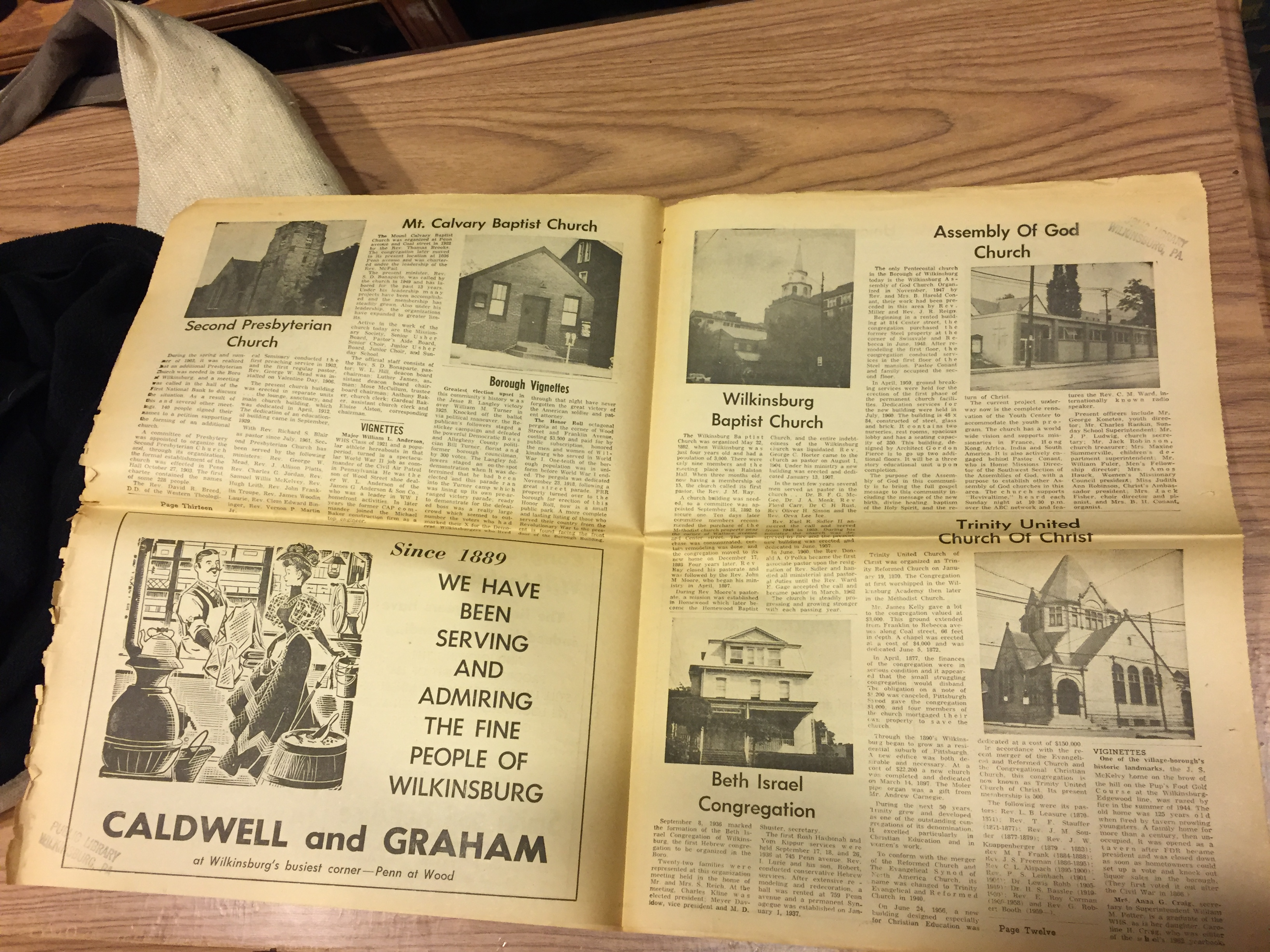 An old Wilkinsburg newspaper featuring stories on the historical churches