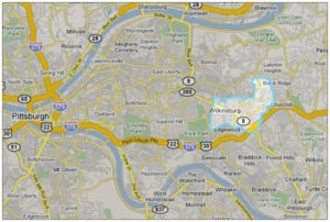 Wilkinsburg map in relationship to Pittsburgh